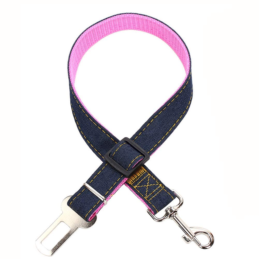 GBY Pet car seat Belt, Dog seat Belt, Dog Retractable seat Belt, pet car seat Belt Adjustable Nylon Cowboy Dog   car seat Belt, restrained Puppy Safety seat Belt-Pink by GBY