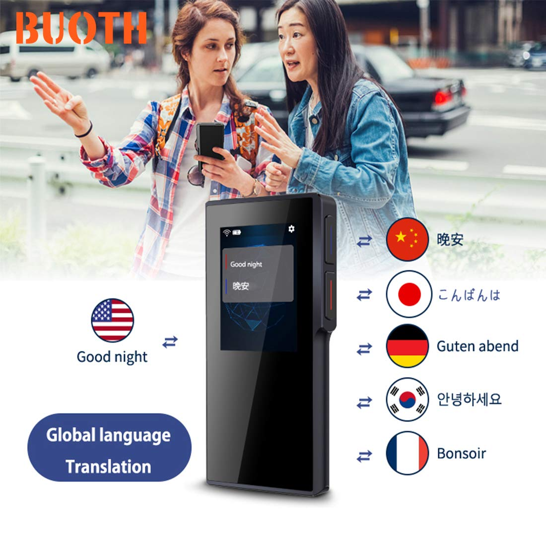 BUOTH Smart Voice Translator Device,70 Languages Instant Two Way Translation with 2.4 Inch Touch Screen Portable for Travelling Learning Business Shopping Meeting by Buoth (Image #3)