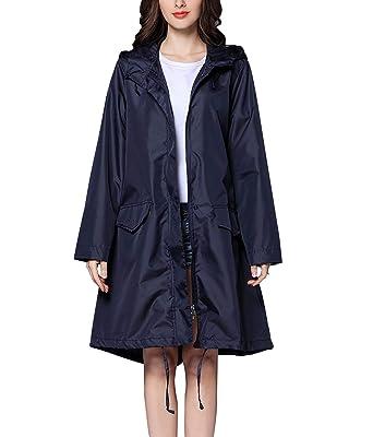 CAMLAKEE Manteaux Imperméable Femme Veste de Pluie avec