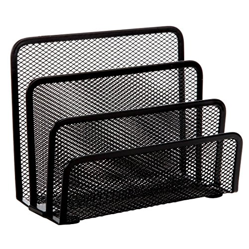 Home-X - Black Mesh Letter Holder with 3 Storage Slots, Perfect Addition to Your Work or Home Office Desk to Simplify and Organize Incoming or Outgoing -
