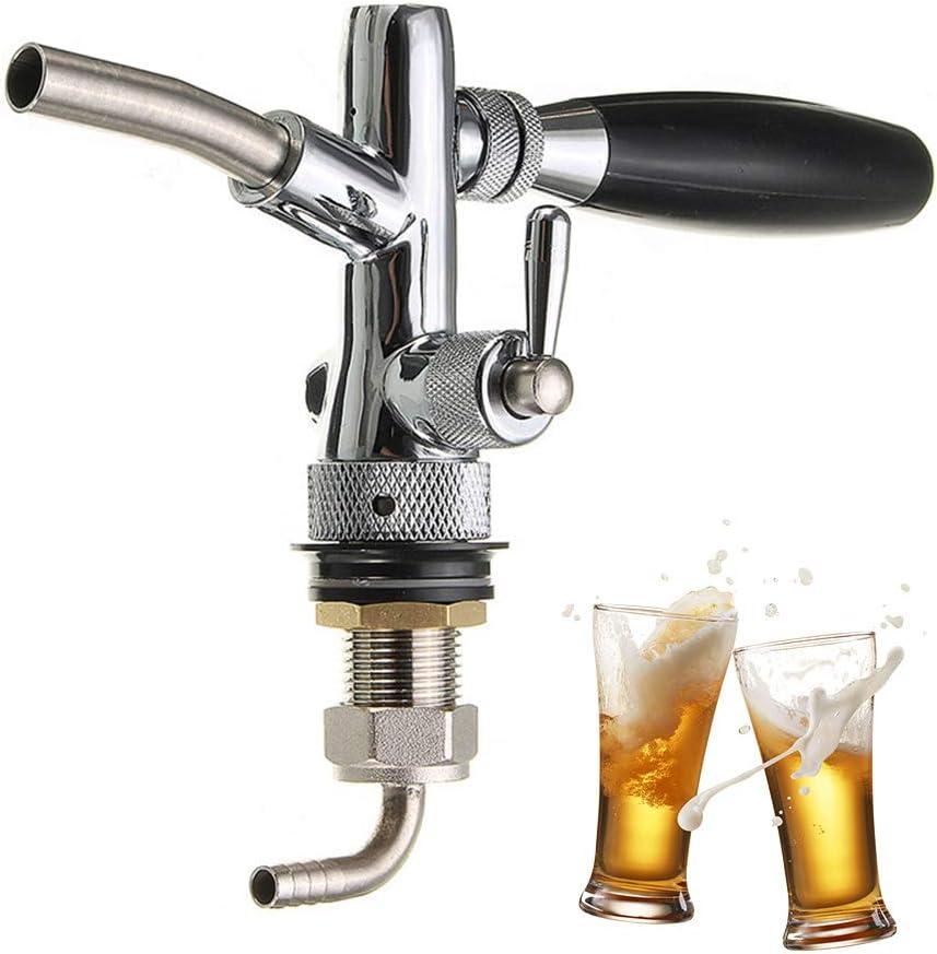 Grifo de Cerveza Ajustable Grifo de Acero Inoxidable Grifo de Cerveza Controlador de Flujo Vástago Cromado G5 / 8 Barril de Barril para Kegerator