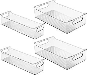 InterDesign Fridge Binz Storage Bins (Set of 4), Clear