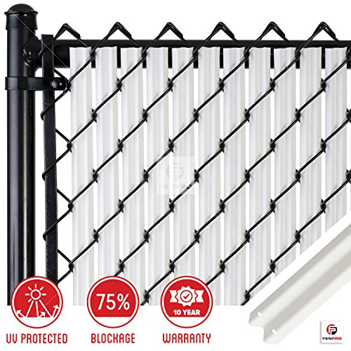 Chain-Link W Shape Bottom Lock Fence Slats (4-ft, White)