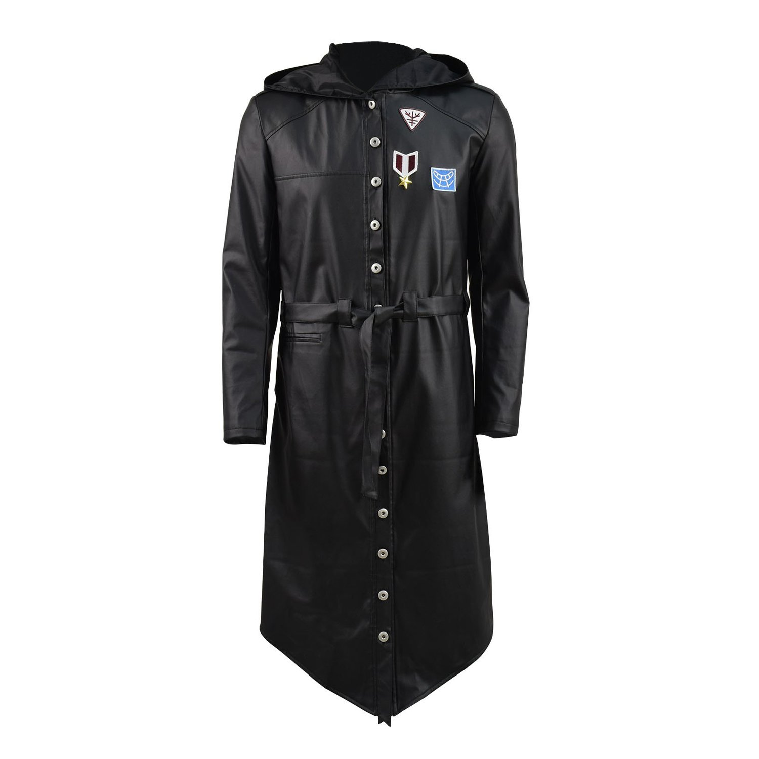 TISEA PUBG Mens Wind Coat Jacket and Cosplay Costume Accessories (US XS, Black Leather Coat)