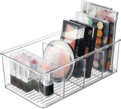 Transparente Pr/áctica Caja de pl/ástico con Asas para Guardar cosm/éticos Organizador de Maquillaje Alto para ordenar los Productos de Belleza mDesign Juego de 4 organizadores de ba/ño