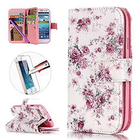 S3 Case, ISADENSER [Card Slot][Kickstand] Embossed PU Leather Flip Folio Wallet Cover with 9 Cards for Samsung Galaxy S3 I9300 + 1pcs Tempered Glass Screen + 1pcs Stylus Pen (Nine Cards (Rilakkuma Phone Case Galaxy S3)