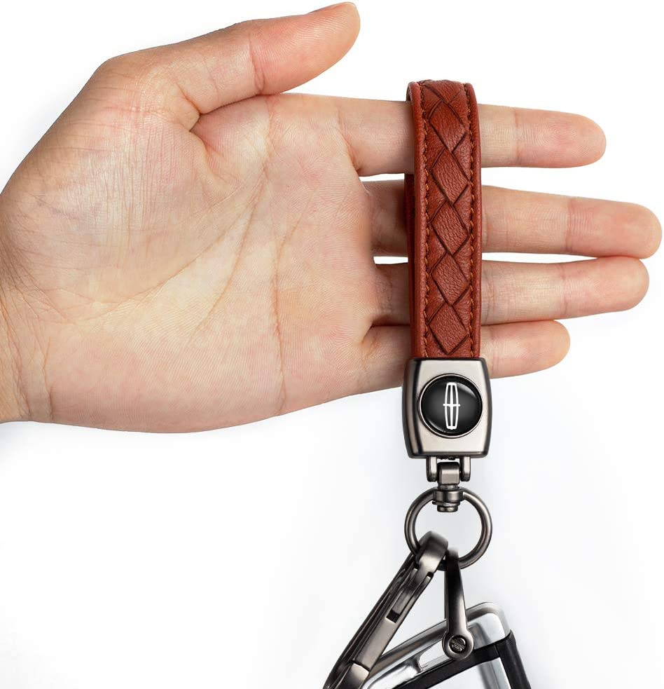 Prius,Avalon Corolla RAV4 Highlander Key Chain Keyring Family Present for Man and Woman Camry Avalon Key Chain Suit for Toyota Genuine Leather Car Logo Keychain Suit for Toyota Hatchback Brown