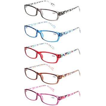 638cefd110a Reading Glasses 5 Pairs Stylish Pattern Frame Readers Quality Fashion  Ladies Glasses for Women (+