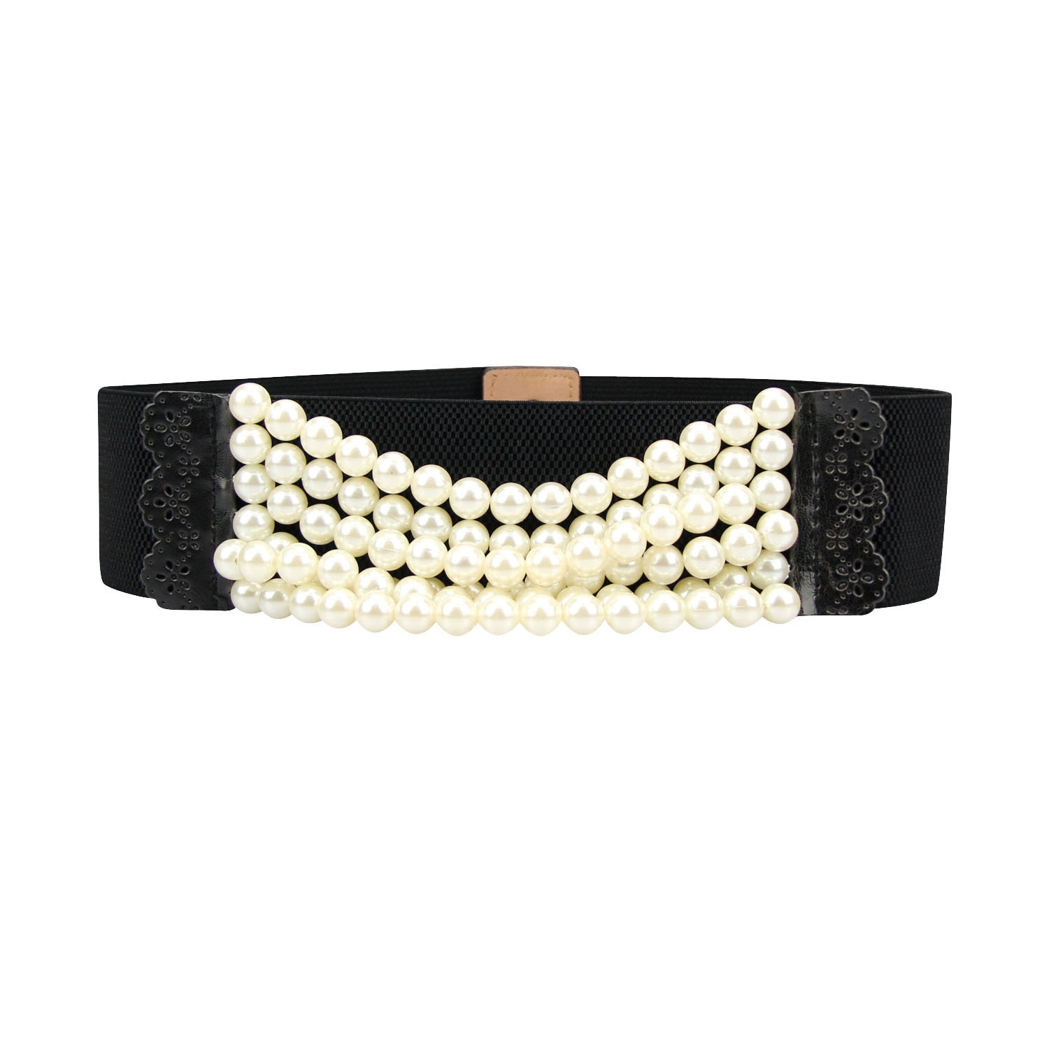 H:oter Lady Genuine Pearl Ornament Elastic Belt Features Lace Detail - Black