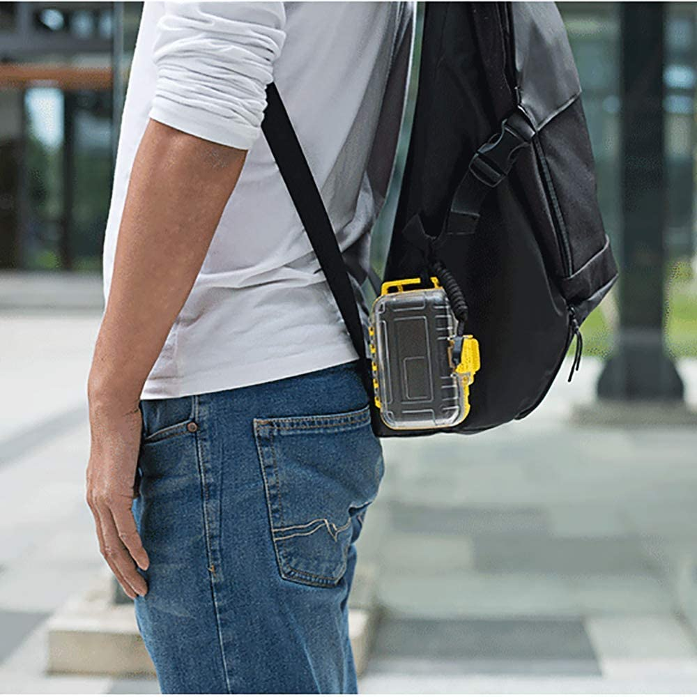 hellodigi ABS Waterproof Mini Storage Box,Earphone Protector Organizer Carrying Protector Storage Box for Earphones,Cables Black