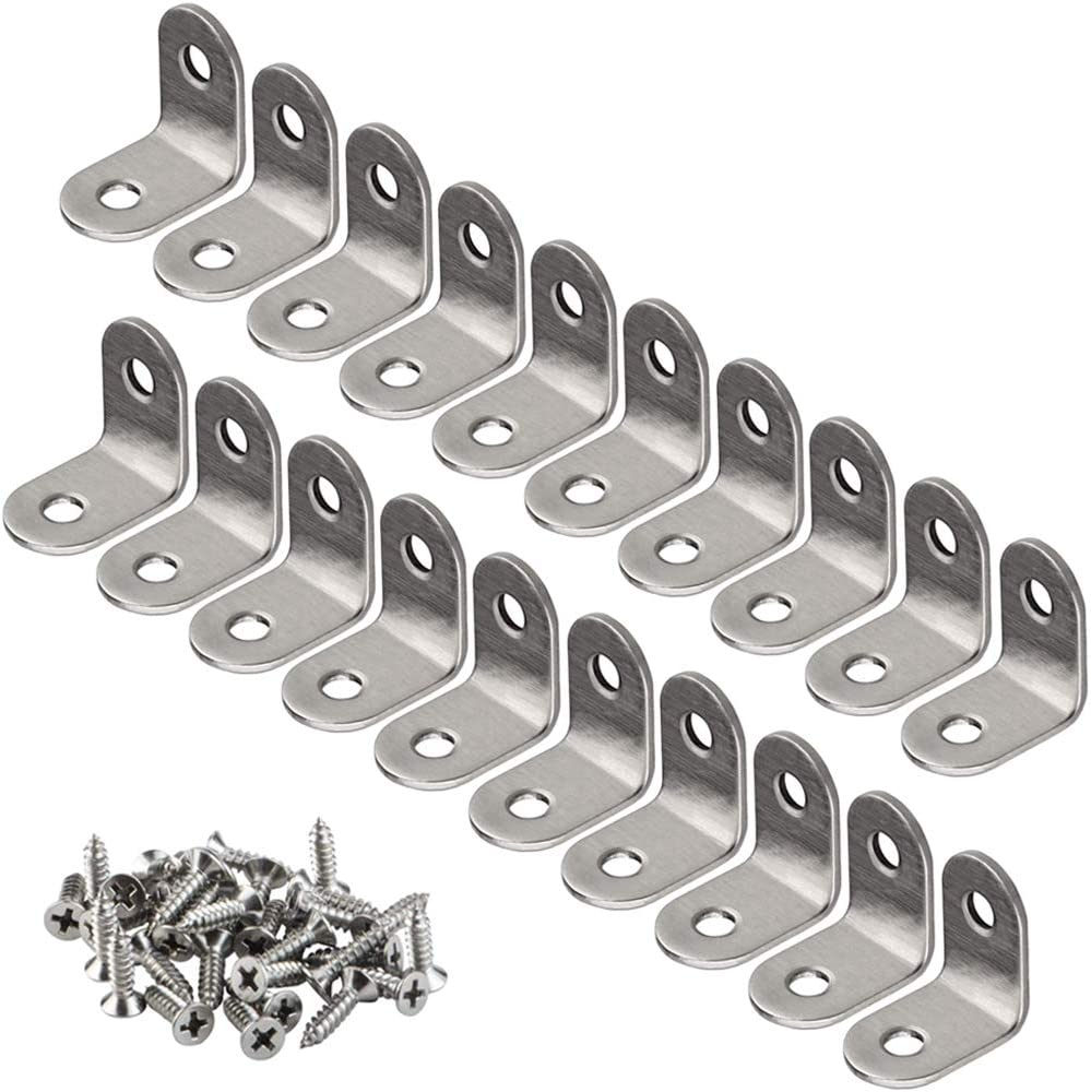 YEWLACA 20 PCS Corner Braces 25mm x 25mm Stainless Steel 90 Degree Joints Right Angle Bracket L Shaped Corner Brackets Fastener for Wood Furniture, Screws Included