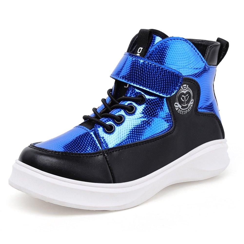 U-MAC Boys Grade School Velcro Sneakers Mid Basketball Shoes Athletic Training Shoes (Little Kid/Big Kid)