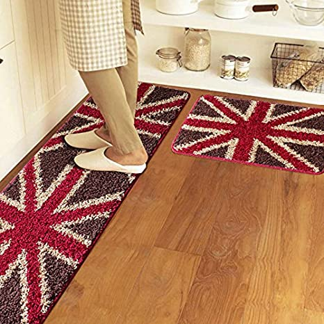 Hoomy Union Jack Design Kitchen Floor Runner Anti-skid Water Absorption  Bathroom Area Rugs Modern Doormat Soft Polyester Bedside Area Floor Mats ...