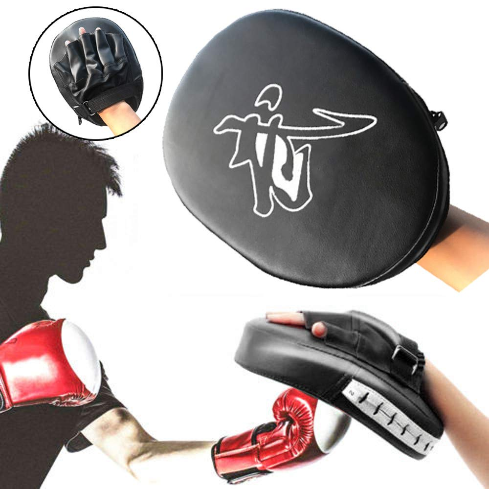 Gotian Boxing Kick Hand Target Glove Punch Pad Mitts Training Pad for Focus MMA Karate Muay Thai Kick PU Leather Black