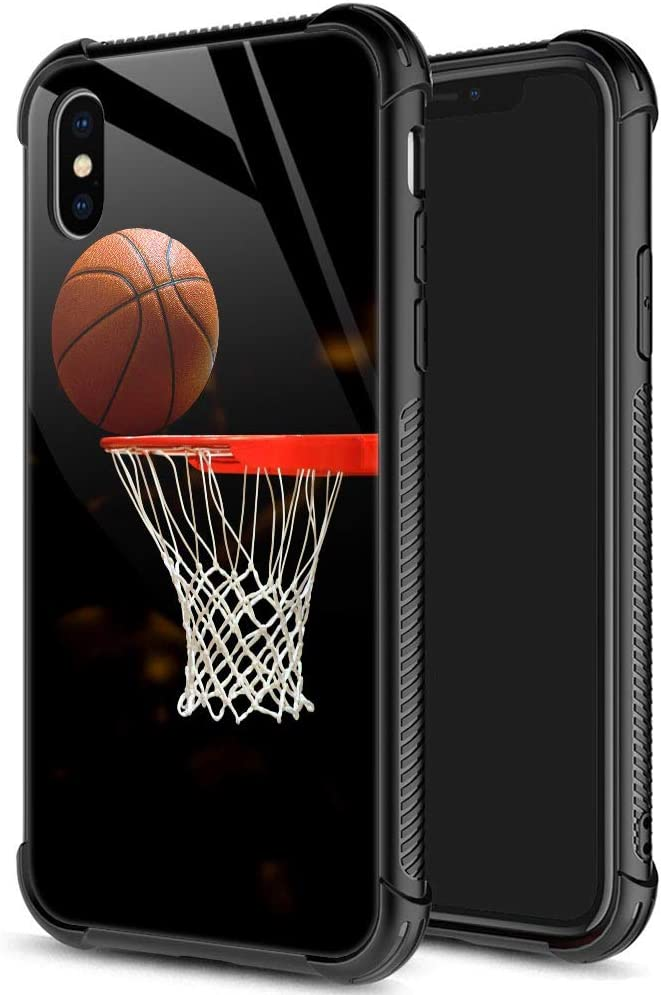 iPhone Xs Case,9H Tempered Glass iPhone X Cases for Men Boys,Funny Basketball Pattern Design Printing Shockproof Anti-Scratch Case for Apple iPhone Xs 5.8 inch Basketball
