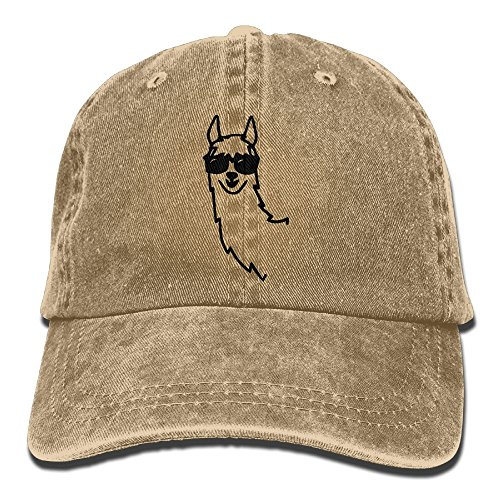 CH&CAP Unisex Baseball Cap Alpaca with Glasses Washed Denim Dad Hat for Women