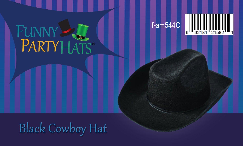 24248193757e1 Amazon.com  Funny Party Hats Black Cowboy Hat - Cowboy Hats - Western Hat -  Unisex Adult Cowboy Hat - Cowboy Costume Accessories  Toys   Games