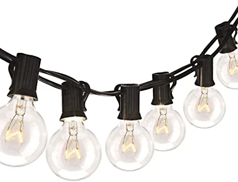 Binval 75ft G40 Outdoor Indoor String Lights Ul Listed For Patio Decor Waterproof 75ft With 80 Clear Bubls Outdoor String Lights For Decks Tents Bistro Backyards Parties Wedding Diy Pool Umbrellas