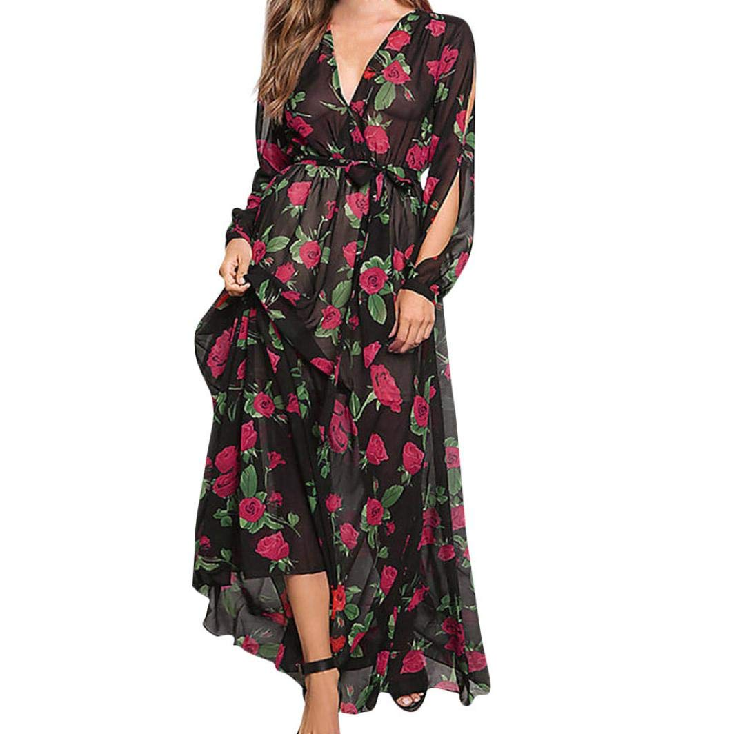 Casual Dress Evening Dresses Teen Dresses Womans Loose Long Sexy Party Dresses Women's Chiffon Printed Belt Elasticated Lace Long Sleeve V-neck Dress (S, Black)