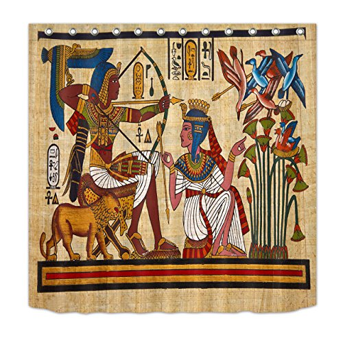 72' Bow Top (LB Ancient Egyptian Myths Mural Pharaoh Wall Painting Decoration Shower Curtain Polyester Fabric 3D 72x72