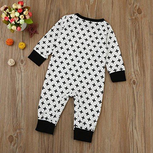 Omiky® Neugeborene Kleinkind-Baby-Jungen-Mädchen-Querdruck-Spielanzug-Overall-Ausstattungs-Kleidung Weiß