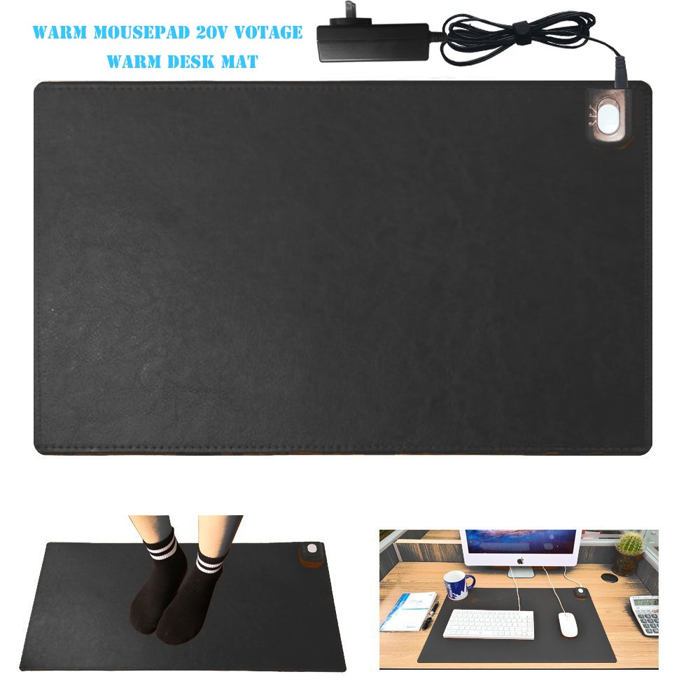 "Warm Desk Pad,kupx 24v Safe Voltage Automatic Control Warm Official Big Mouse Pad Game Mouse Pad Extended Edition Pu Gaming Mouse Mat Functional,foot Warmer Pad Warm Desk Pad 23.6""*14""*0.12"" Black"