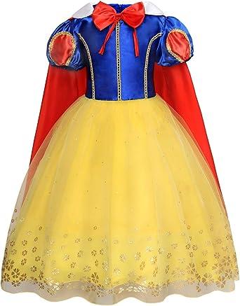 AmzBarley Girls Dress Princess Snow White Costumes Fancy Party Birthday Dress Up Halloween Cosplay
