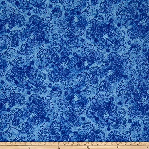 Fabric & Fabric 0565780 QT Avalon 108in Wideback Decorative Filigree Blue Fabric by The Yard