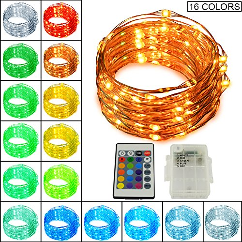 Led String Lights, Ucharge 16ft 50 Led Copper Wire Light with 30-key Remote 16-color Options Waterproof Battery Powered String Lights for - Copper Color Green