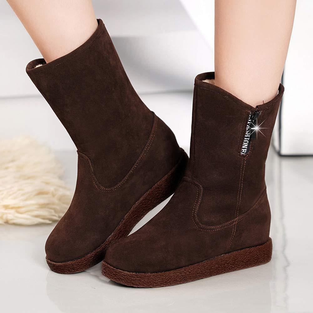 SamMoSon Botas Mujer Invierno Altas Negras Tacon Marrones,Botas De Gamuza para Mujeres Cuñas Botas De Tubo Medio Casual Mantener Cálidos Zapatos Botas para ...