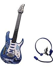 MRKE Guitarra Electrica Niños 6 Cuerdas Rock Juguete de Instrumentos Musicales con Auriculares y Correa de