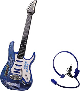 MRKE Guitarra Electrica Niños 6 Cuerdas Rock Juguete de Instrumentos Musicales con Auriculares y Correa de Guitarra para Infantil Niño y Niña 3-8 Años (Azul): Amazon.es: Juguetes y juegos