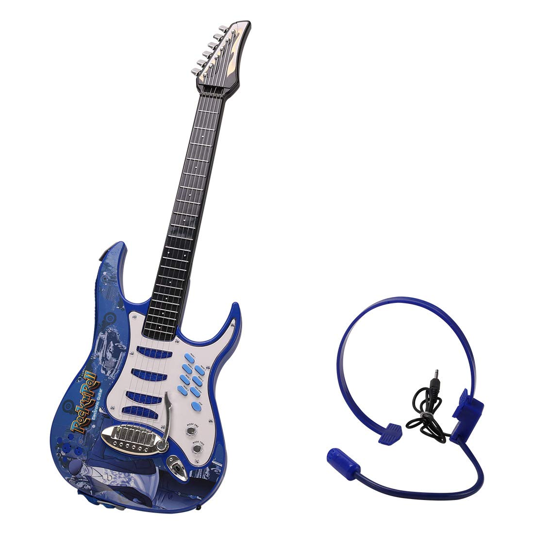 HMANE Electric Guitar Toys Musical Instrument Toys Early Educational Toy with Earphone for Boys Girls Children - (Blue)