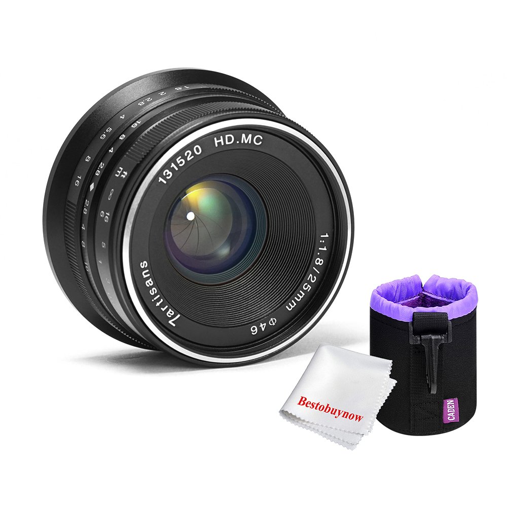 7artisans 25mm f1.8 Large Aperture Manual Focus Lens for Sony E-mount Cameras A7 A7II A7R A7RII A7S A7SII A6500 A6300 A6000 A5100 A5000 (Black)