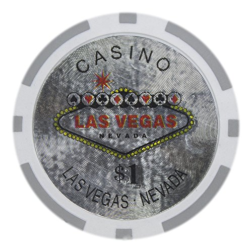 Brybelly Las Vegas Casino Poker Chip Heavyweight 14-gram Clay Composite – Pack of 50 ($1 White) (Clay Poker Las Vegas)