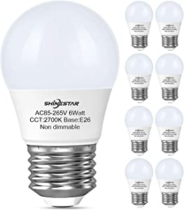 8-Pack A15 LED Ceiling Fan Light Bulbs 60 watt Equivalent, 2700K Warm White E26 Medium Base Small LED Appliance Bulb for Bathroom Vanity Fixtures, Non-dimmable
