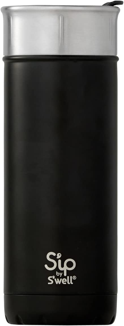 S'ip by S'well Insulated Stainless Steel Travel Mug, 16 oz, Coffee Black