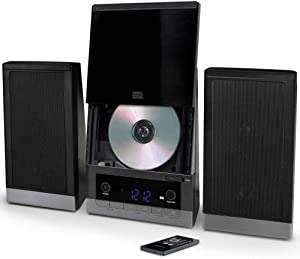 ONN ONB15AV203 Audio Compact Home CD Music Shelf System Vertical-Loading with Stereo Dynamic Speakers & Digital AM/FM Radio LCD Display & Aux Line in Refurbished