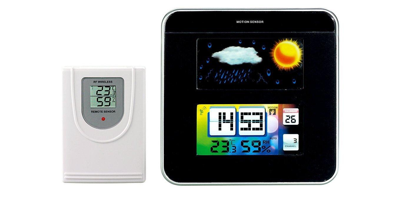 Estación meteorológica por radio con pantalla LCD - sensor externo - Reloj - Reloj -, New: Amazon.es: Hogar