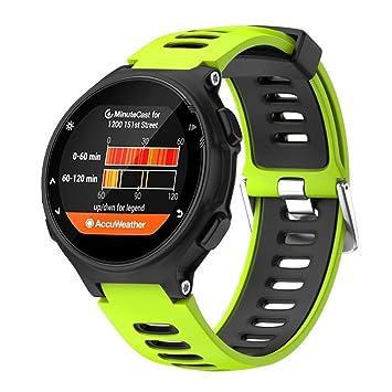 Señor Reloj Digital, sonnena Reloj Fitness Hombre Correa De Muñeca De Repuesto De Silicona Suave para reloj Garmin Forerunner 735 X T Standard Verde: ...