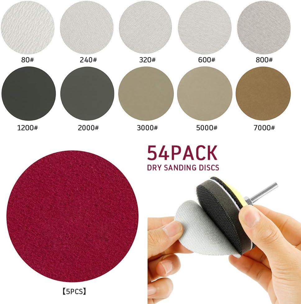 3 cuscinetti in schiuma morbida Kit di 54 dischi abrasivi da 7,6 cm include 1 cuscinetto con manico da 1//4 5 pezzi per ogni carta abrasiva secca e bagnata 80//240//320//600//800.