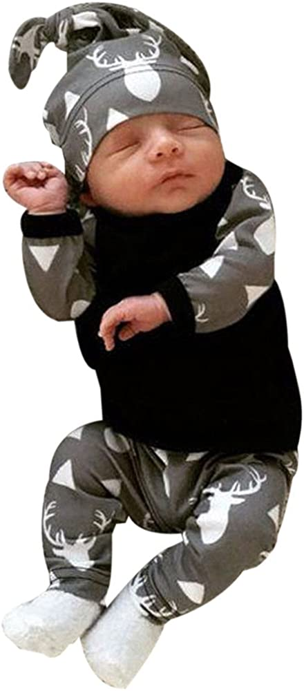 Hosen Leggings 3 St/ück Outfits Set Kobay Neugeborenes Baby Boy Kleidung Deer Tops T-Shirt