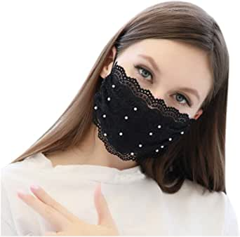 Lace Face Bandana Reusable,Lace Face Bandana for Women,Sexy Cute Lace Face Covering, Washable and Breathable