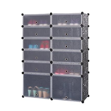MAXGOODS Shoe Rack Free Standing,12 Cube Organizer 6 Layer Diy Shoe Storage  Cabinets