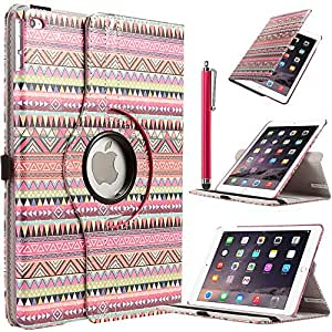 iPad Air 2 Case, ULAK Case for iPad Air 2 [2014 Release] 360 Degree Rotating Stand Smart Case Cover for iPad Air 2 with Film + Stylus (Pink Tribal)