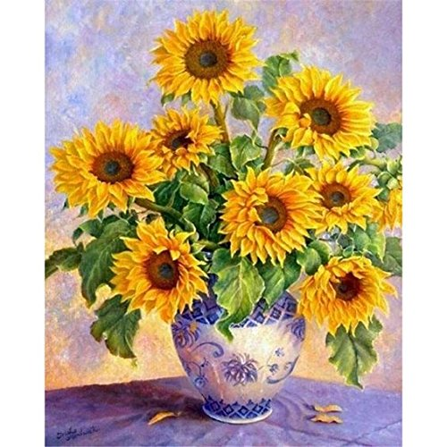 Oil Vase Resin Stone (WiHome 5D Diamond Painting Kits for Adults Full Drill Sunflower Vase Embroidery Rhinestone Painting)