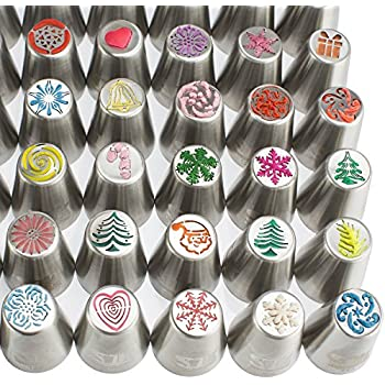 100pc Russian piping tips CHRISTMAS limited edition! 70 NEW design numbered stainless steel nozzles ,2leaf tip, 3-color+ single coupler, 20 pastry bags, 5 silicon cake cups, Gift box