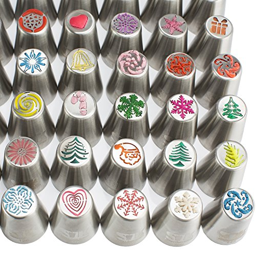 100pc Russian piping tips CHRISTMAS limited edition! 70 NEW design numbered stainless steel nozzles ,2leaf tip, 3-color+ single coupler, 20 pastry bags, 5 silicon cake cups, Gift box by SLK snow's luxury kitchen