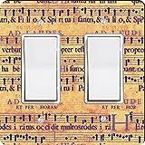 Rikki Knight Grunge Music Notes Design Double Rocker Light Switch Plate