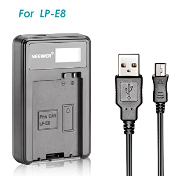 Amazon.com: Neewer – Cargador de batería USB para LP-E8 ...